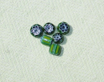 Green and Blue Glass Bead Mix - 6 pcs - Jewelry Making Supplies