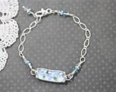 Broken China Bracelet, Broken China Jewelry, Blue Flowers, Sterling Silver Chain, Soldered Jewelry