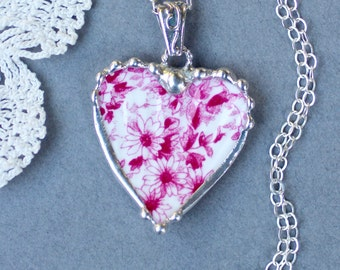 Necklace, Broken China Jewelry, Broken China Necklace, Heart Pendant, Dainty Pink, Sterling Silver, Soldered Jewelry