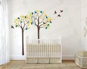 "Tree Wall Decal Nursery 80""H Bird Decals Baby Kids Room Living Room Bedroom Large Tree Wall Sticker Girls Boys Removable Vinyl Decor"