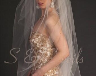 "2-Tier Bubble puffy veil, bridal veil, Available in 90"" thru 120"" Lengths, Royal length 140"" thru 160"" lengths"