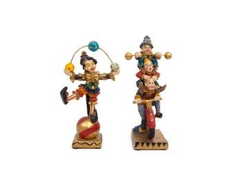 Vintage Resin Circus Clown Figurines Made in Italy Juggler Balancing Act Set of 2 Clowns
