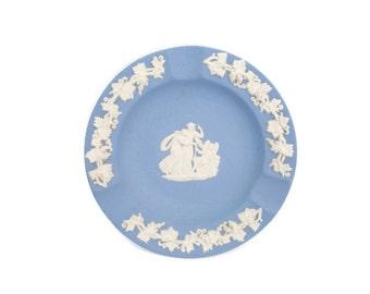 Vintage Wedgwood Ashtray Jasperware Blue Cupid Asleep Grapevine Border Made in England Ring Dish Trinket Holder Pin Tray