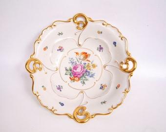 Vintage JLMENAU Graf Von Henneberg Hand Enameled German Bowl 11 inch Serving Bowl Encrusted Gold Scrolls Dresden Flowers