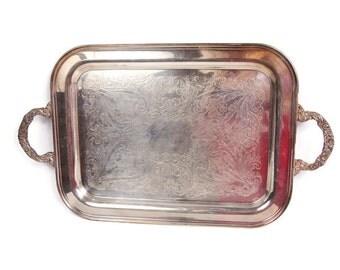 Vintage Butler Serving Tray Sheridan Silver Plate Ornate Handles Large Platter Engraved Design 1940s Tray