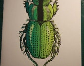 Green Scarab original print linocut limited edition
