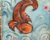 "Reserved ~ Koi Fish in Splashing Water ~ 11"" x 14"" ~ Original Acrylic Painting"
