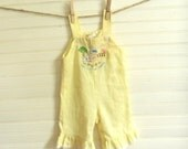 Vintage Baby Overalls, Pants, Yellow Baby Overalls, Ruffled Overalls, Ruffled Pants, Yellow Overalls, 0-3 Months Overalls, Vintage SALE