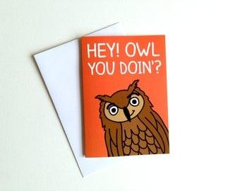 Funny Valentines Owl Card, Best Friends Card, Silly Joke Card, Fun Anniversary  Card, Funny Pun Card, Birthday Owl Card, Fun Animal Card