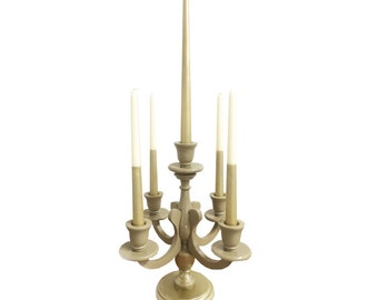 Khaki and Gold Candle Holder