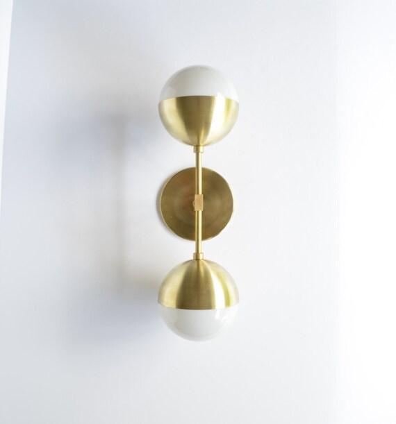 Modern Brass Light Duel milk glass & solid brass wall sconce