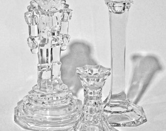 St George Crystal Nutcracker Candle Holder Trio