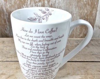 Large Coffee Cup, How Do I Love Coffee, Let Me Count The Ways, 14 oz Coffee Mug, Medieval Coffee Illustration, Ready to Ship