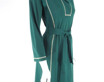 70s Long Sleeve Green Dress - sm, med