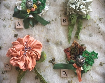 Boho Magical Floral Pins Silk Roses Green Man Crocheted Shabby Chic Junk Gypsy Cowgirl Cutie
