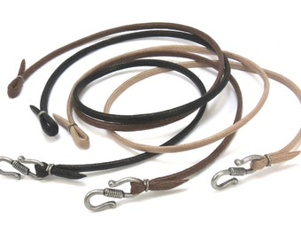 Custom Cord in Black, Brown, Tan - Woven Cotton Cord (Faux Leather) - Mens Cord Necklace in Custom Lengths
