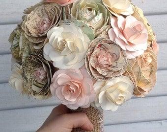 Vintage map paper bouquet, paper peonies, roses, ranunculus, bridal bouquet, wedding flowers, vintage maps, cream, blush, mint flowers