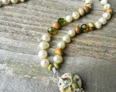 Fleur Rustica - Fleur de Lis Lampwork Necklace -French Country Beaded  Freshwater Pearl Necklace