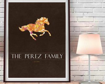 Equestrian Art, Horse Art, ranch family art, family name art, paint splatter watercolor effect
