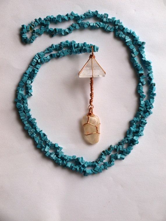 Quartz Pyramid, Moonstone, and Turquoise Long Boho Necklace - Healing Crystal Jewelry - Ecofriendly, Fair Trade Materials