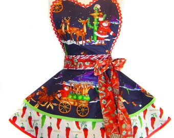 """Exclusive """"Southwest Santa Cowboy"""" Retro Christmas Apron - One-Of-A-Kind & Only from Tie Me Up Aprons"""