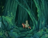 magical forest print, 11 by 6.5 artwork