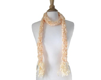 Long Skinny Scarf with Ribbon Fringe, Summer Accessory, Gold Butter Yellow, Hand Knit, Thin Wrap Scarf