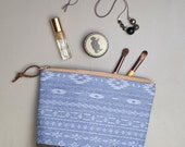 Cosmetic Bag in Mesa Chambray, Waxed Canvas - Zipper Clutch
