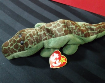 Ally ~ Ty Beanie Babies Plush Green and Brown Alligator ~ Vintage Collectible Beanbag Stuffed Animal Toy