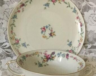 Vintage Baronet China Bowl and Saucer Double Handles,Czechoslavkia,Floral,Verona