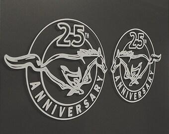 "1 Set - 25th Anniversary Mustang Vinyl Decal Sticker 6"" x 4.94"""
