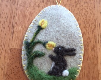 Needle Felted Easter Rabbit Smelling The Spring Flowers Ornament