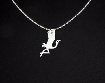 Crane Necklace - Crane Jewelry - Crane Gift