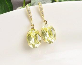 Yellow Earrings - Swarovski Crystal Earrings - Gold Yellow Dangle Earrings - Crystal Bridesmaid Earrings - Bridesmaid Jewelry