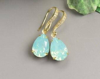 Mint Earrings - Swarovski Earrings - Gold Bridesmaids Earrings - Mint Jewelry - Mint Green Earrings - Bridesmaid Jewelry - Crystal Earrings