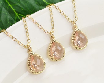 Gold Champagne Bridesmaid Necklace Set of 5 - 10% OFF Blush Peach Necklace - Crystal Necklace -Bridesmaid Gift - Bridesmaid Jewelry Set