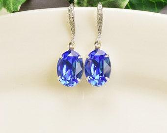 Cobalt Blue Earrings - Silver Sapphire Blue Swarovski Crystal Earrings - Blue Bridesmaid Earrings - Royal Blue Earrings - Bridesmaid Jewelry