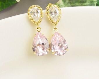 Light Pink Earrings - Gold Pink Swarovski Crystal Teardrop Earrings - Pink Bridesmaid Earrings - Wedding jewelry - Bridal