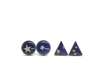 Star Stud Earrings, Triangle or Round, Navy and Gold, Chiyogami, Japanese Paper, Laser cut Birch, Decoupage, Gift under 10, You chose