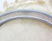 "Oval Frame Gray White Cream Vintage 12"" Hand Painted Baby Nursery Shabby Cottage French Wall Decor Floral Ribbon Wedding Shower"