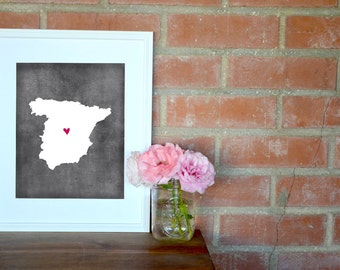 Spain Chalkboard Country Map. Spain Personalized Map. Wedding Map Art. Wedding Gift. Anniversary Gift. Art Print 8x10.