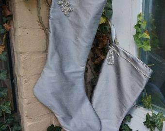 Christmas stocking, silver gray silk stocking, rhinestone beaded