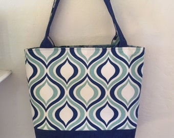 Blue Teal and White print Tote Bag/knitting bag/Market bag/Diaper bag
