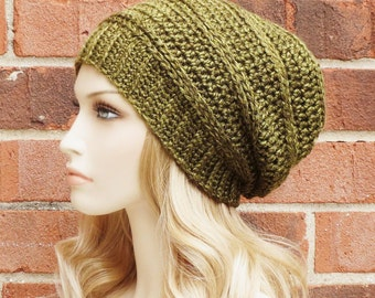 Slouchy Beanie - Womens Crochet Hat - Olive Green Slouchy Hat - Fall Winter Accessories - Crochet Slouch Hat  // THE KETTERING //