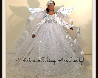 Silver TreeTopper, African American Christmas Angel, OOAK Black Angel Tree Topper, Holiday Decoration, Handmade Christmas Decorations