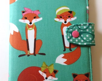 Kindle Fire Paperwhite Cover Nook Simple Touch  Kobo Glo Nook Glowlight Kindle Voyage Madam Foxes in Aqua Custom Order