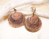 Brass earrings with flower pattern Layered brass earrings