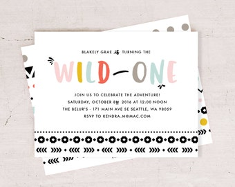 WILD ONE Birthday Party Invite - Tribal Theme Invite // Digital or Printed
