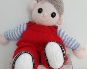 Poppet Knitted Doll . Knitted Doll. Dressed Doll. Hand Knit . Knitted wig. Safety Eyes.  Dungarees. Cuddly Doll. Childs Toy