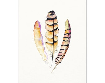 Tribal Feather Illustration / Feather Art Print / Watercolor Feather Wall Art / Nature Art Watercolor Feather Painting / Colorful Boho Decor